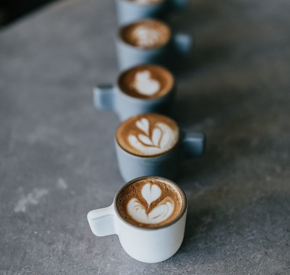 Five latte cups are on lined up on a concrete kitchen counter.