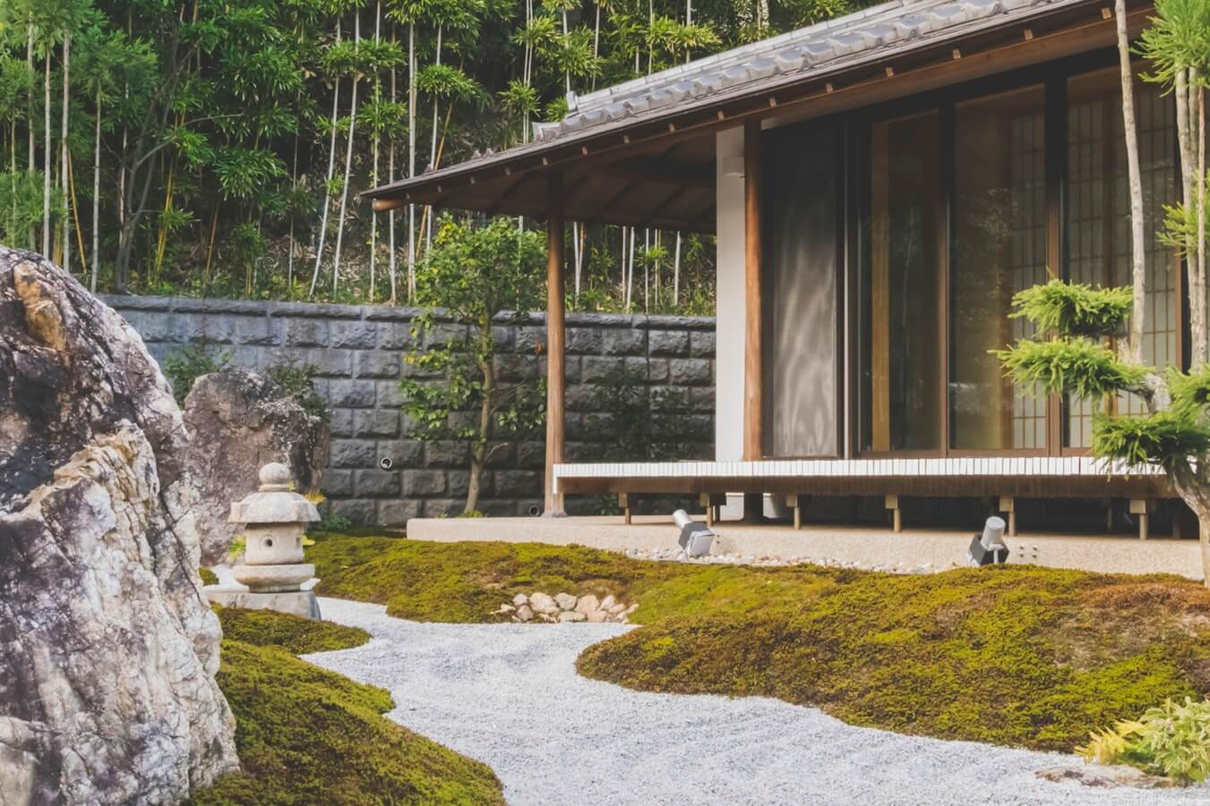 A Japanese garden pathway shows how useful sand and gravel can be in landscaping.
