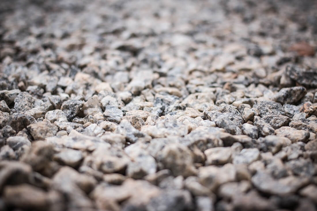 Close-up shot of thousands of crushed pieces of stone