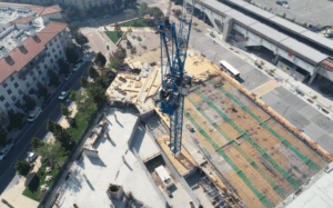 A construction site is seen from above.